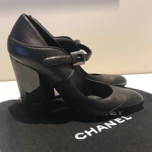 Chanel Mary Jane Block Heel Black Lamb Leather 39